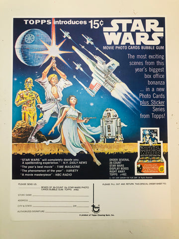 Star Wars Topps First movie cards rare ad sell sheet 1977
