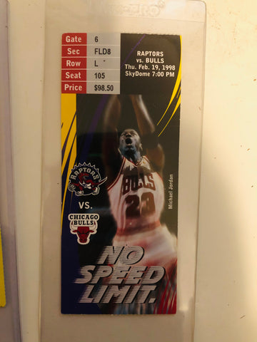 Michael Jordan rare Toronto Raptors basketball game ticket 1998