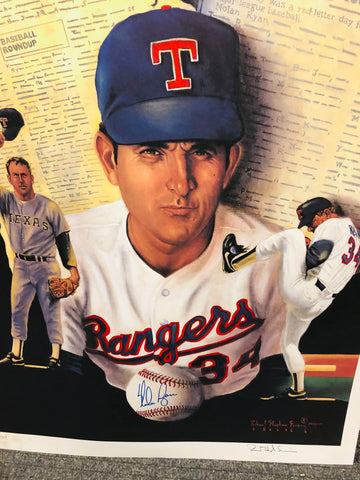 Nolan Ryan rare signed in person and by the artist large baseball print. Sold with COA