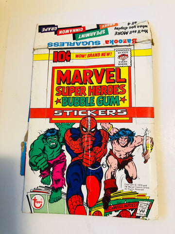1975 Topps Marvel Superheroes stickers rare empty display box