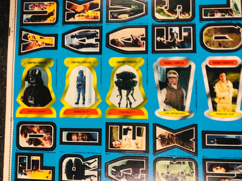 1981 Empire Strikes back series 2 stickers rare uncut cards sheet