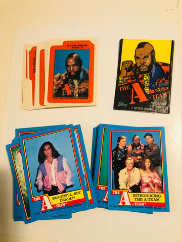The A-Team TV show cards and stickers set with wrapper 1983
