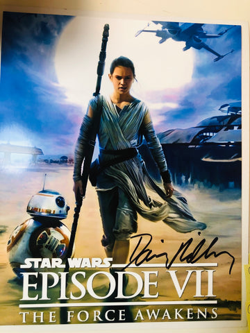 Star Wars Daisy Ridley rare autograph photo with COA