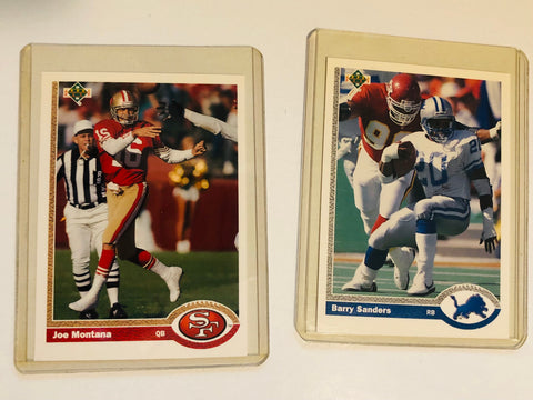 Joe Montana and Barry Sanders rare Upper Deck promo cards 1990-91