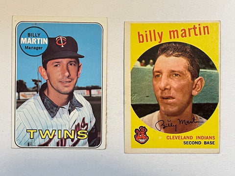 Billy Martin two vintage baseball cards lot deal 1960s