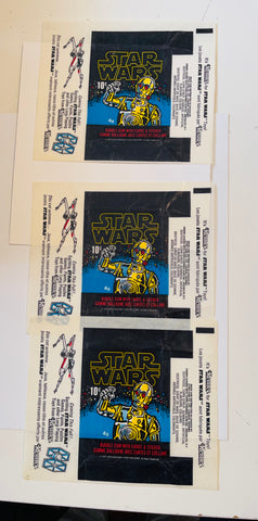 Star Wars series 1  O-pee-Chee rare three Canada version wrappers 1977