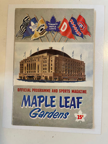 Toronto Maple Leafs hockey game program,Nov.8,1952