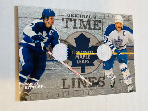 Wendel Clark and Darryl Sittler double memorabilia insert hockey card