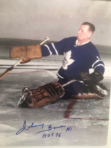 Johnny Bower Toronto Maple Leafs hockey signed photo with COA