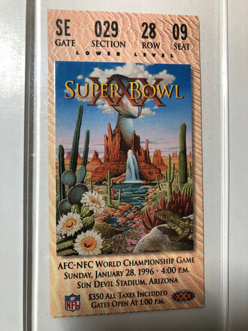 Super Bowl XXX football original game ticket 1996
