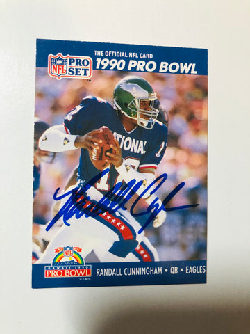 Randall Cunningham rare autograph football card with COA