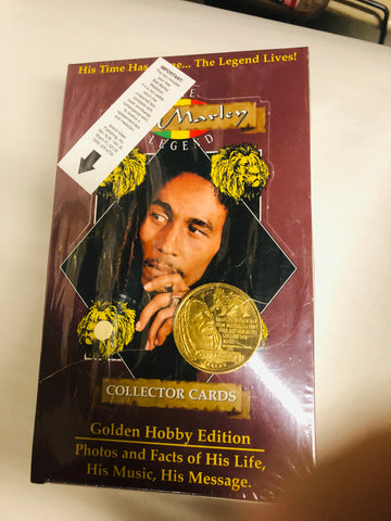 Bob Marley rare hobby cards factory sealed box with rare coin