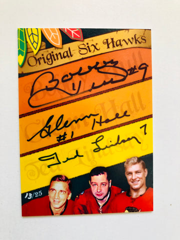 Chicago Black Hawks hockey legends triple autograph insert card 13/25