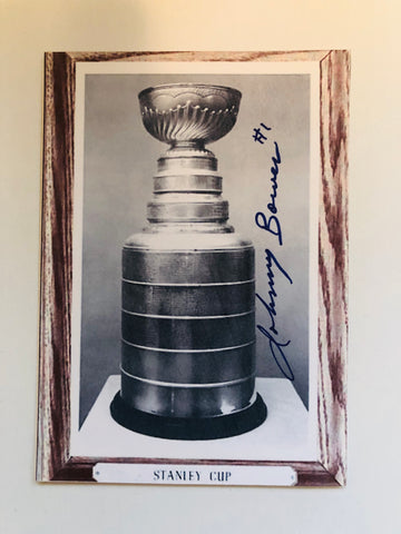 Johnny Bower Stanley Cup signed 3x5 card with COA