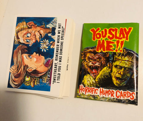 You Slay Me Horror cartoon cards set with wrapper 1992