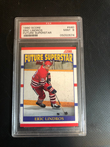 Eric Lindros score French and English PSA 9 graded hockey card
