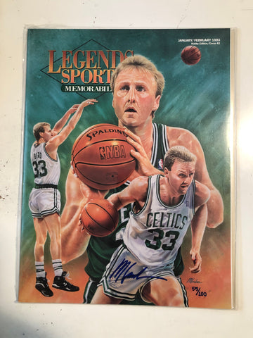 Larry Bird Legends Sports Magazine autograph cover with COA 1993