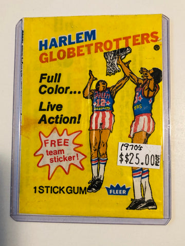 Harlem Globetrotters basketball rare card wrapper 1970s