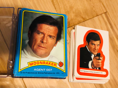 James Bond Topps Moonraker movie cards and stickers set 1979