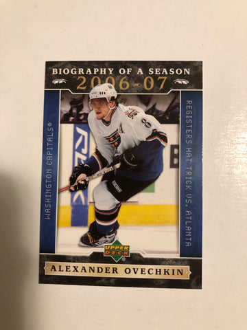 Alexander Ovechkin upperdeck Biography of the season hockey card