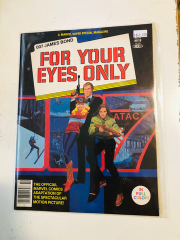 James Bond For Your Eyes Only Marvel super special comic magazine 1981