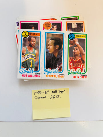 1980-81 Topps basketball cards 26 ct lot deal