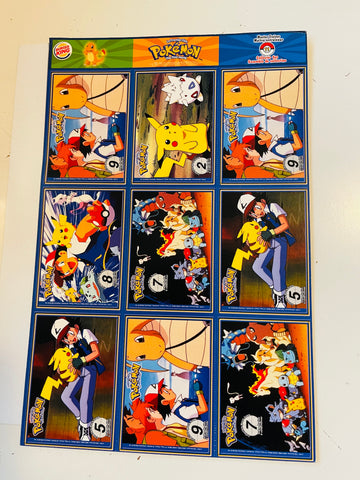 Pokémon #11 Burger King rare uncut cards sheet 1999