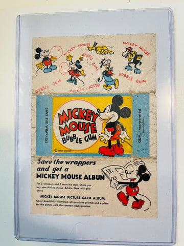Mickey Mouse Disney cards rare scare card wrapper 1933