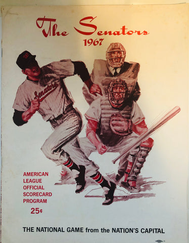 The Senators baseball team rare scorecard program 1967