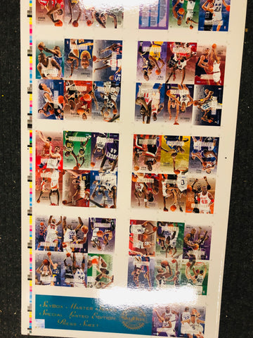 1995 Skybox basketball rare master series limited numbered press cards sheet
