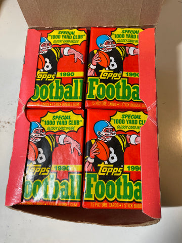 1990 Topps football cards 36 packs box