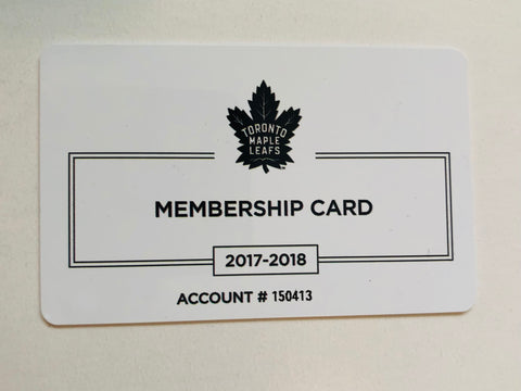 Toronto Maple Leafs ACC collectible membership card 2017-2018