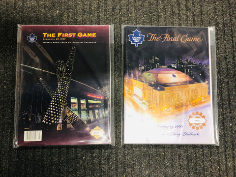 Toronto Maple Leafs hockey two game programs deal. Last Gardens game, first ACC game