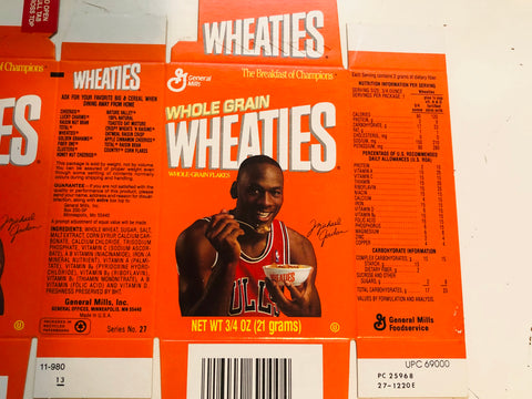 1991 Michael Jordan rare flat Wheaties mini cereal box
