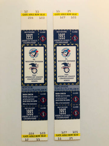 1993 Toronto Blue Jays ALC champions playoff tickets