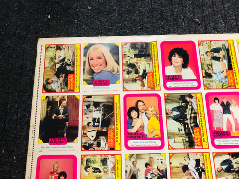 Three's Company TV Show rare uncut stickers sheet 1978
