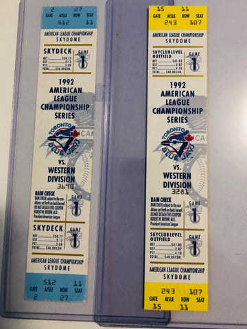 Toronto Blue Jays baseball two rare American League playoff tickets 1992