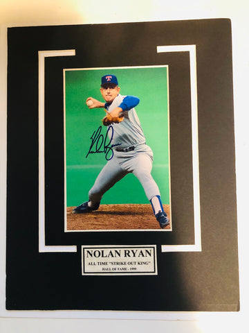 Nolan Ryan long shot signed matted photo with COA