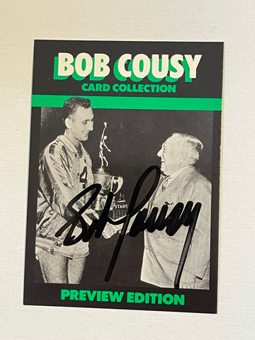 Bob Cousy Boston Celtics basketball legend autograph card with COA