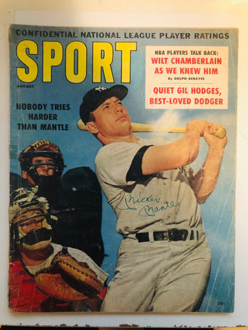 Mickey Mantle Sport Magazine signed with COA