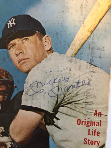 Mickey Mantle signed in person baseball pocket book 1961 with COA