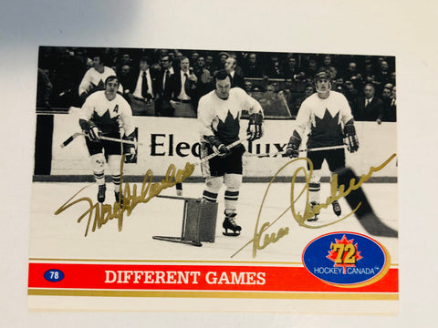 Paul Henderson and Frank Mahovlich rare signed card with COA