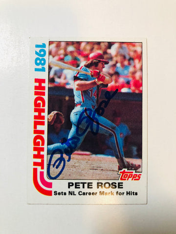 Pete Rose signed in person baseball card with COA