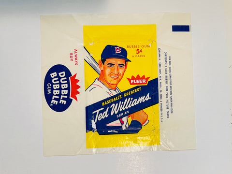1959 Fleer Ted Williams scarce baseball card wrapper