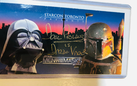 Star Wars Starcon David Prowse Darth Vader signed card with COA