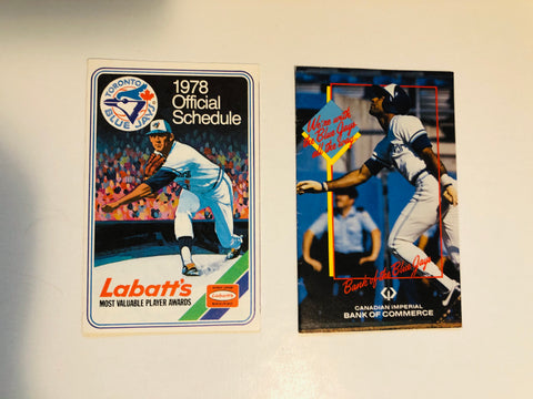 Toronto Bluejays baseball schedules 1978,1987