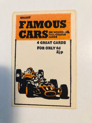 Formula 1 Racing rare sealed cards pack 1970