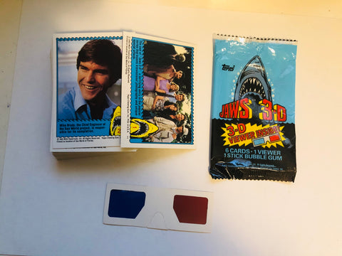 Jaws 3D movie cards set with glasses and wrapper 1980s