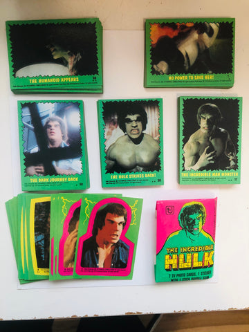 Incredible Hulk TV Show cards and stickers set 1978