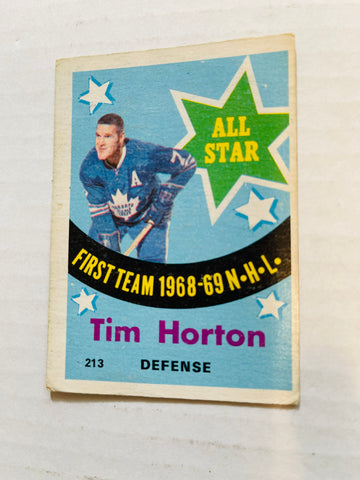 Tim Horton opc all star hockey card 1969
